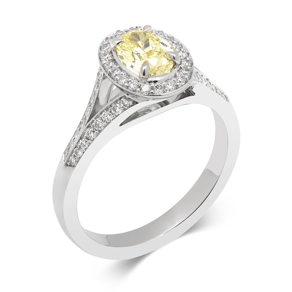 Platinum Oval Yellow Diamond Halo Engagement Ring 1.06ct Thumbnail Image 0