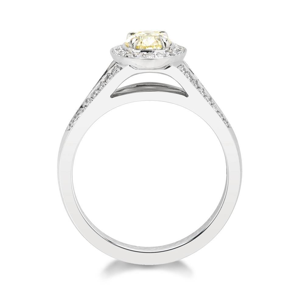 Platinum Oval Yellow Diamond Halo Engagement Ring 1.06ct Thumbnail Image 1