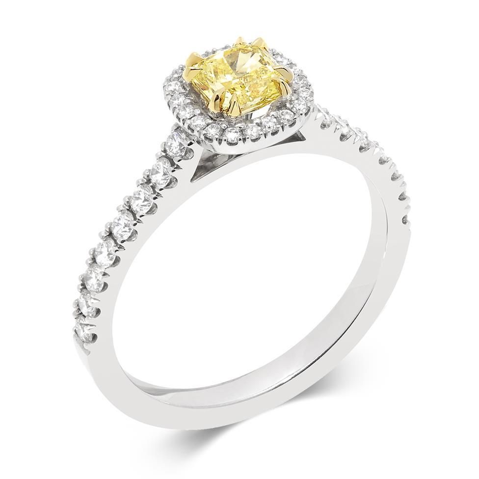 Platinum Radiant Cut Yellow Diamond Halo Engagement Ring 1.02ct Thumbnail Image 0