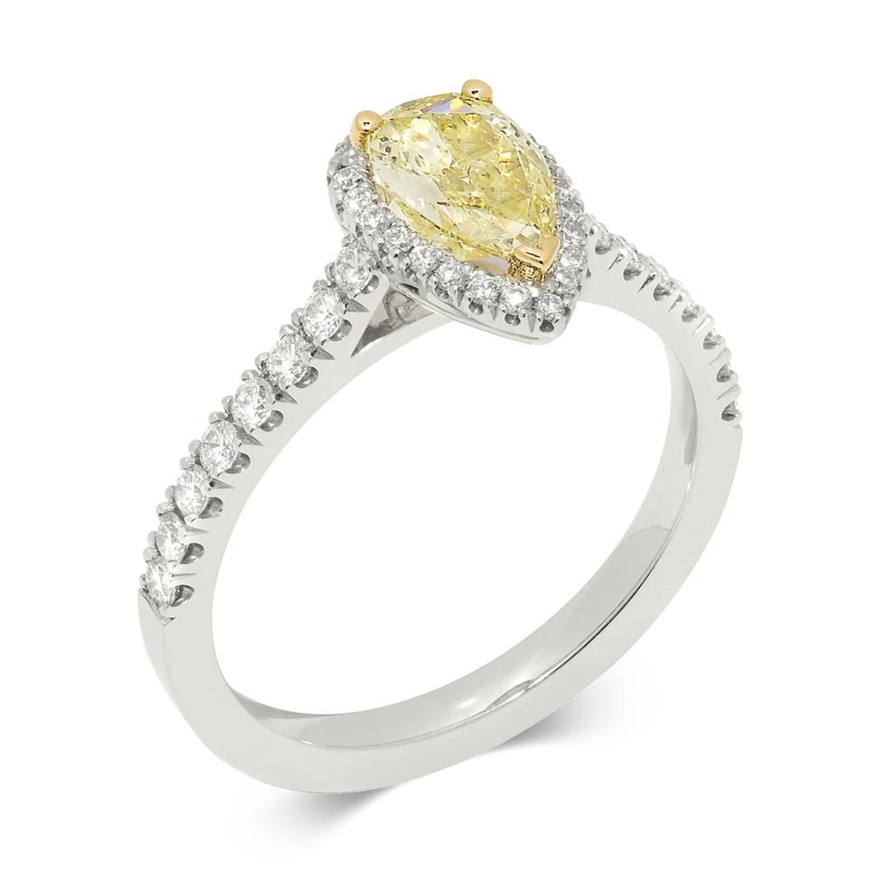 Platinum Pear Cut Yellow Diamond Halo Engagement Ring 1.02ct Thumbnail Image 0
