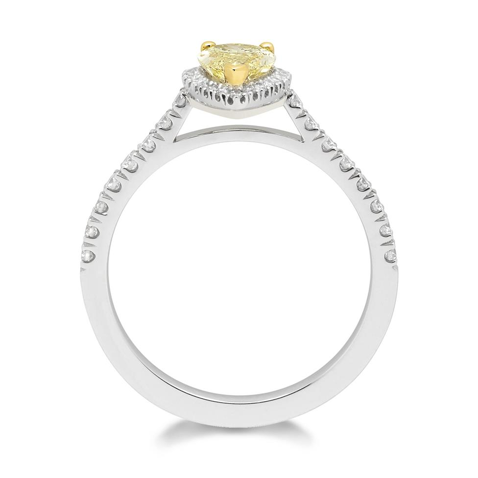 Platinum Pear Cut Yellow Diamond Halo Engagement Ring 1.02ct Thumbnail Image 1