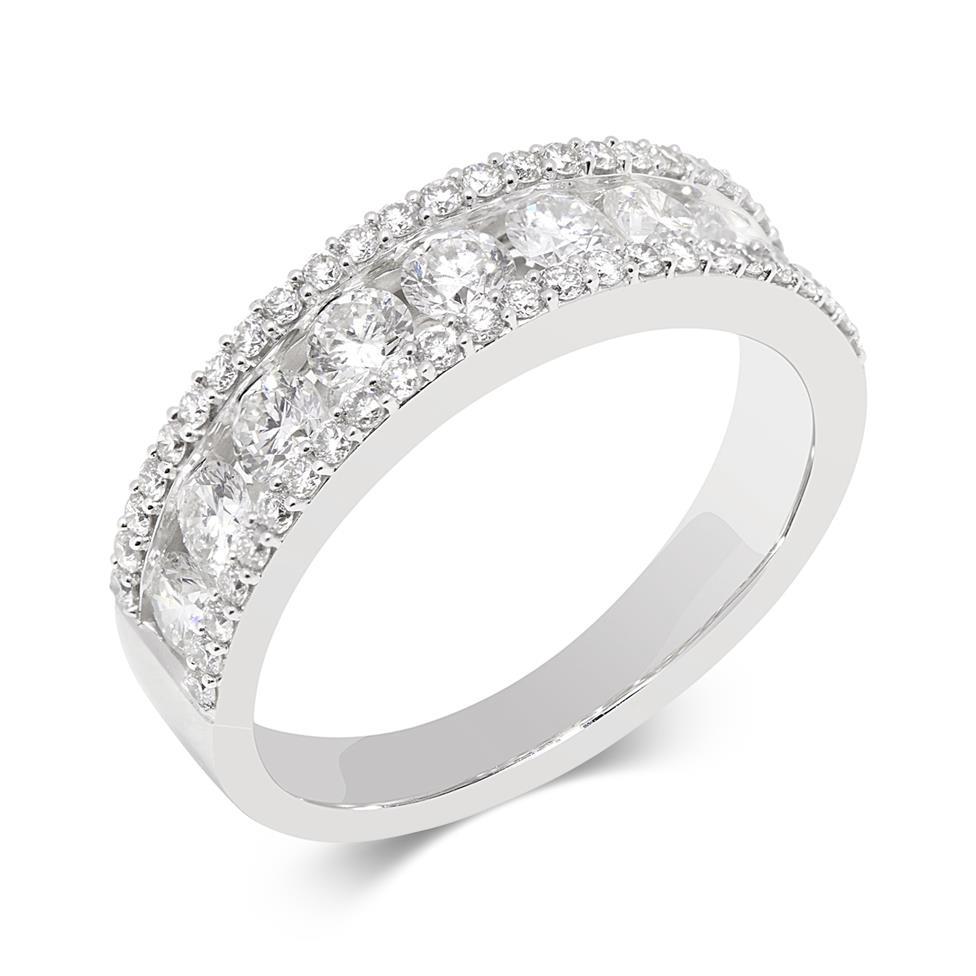 18ct White Gold Three Row Diamond Half Eternity Ring 1.20ct Thumbnail Image 0