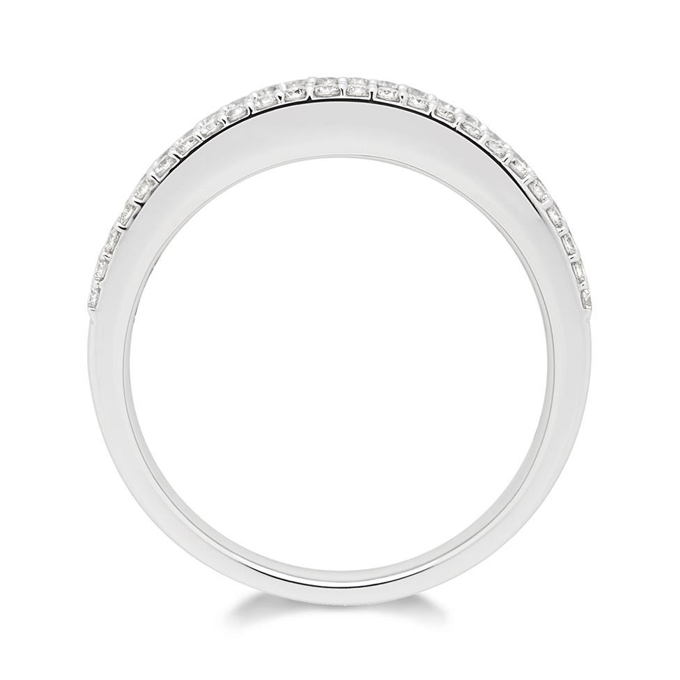 18ct White Gold Three Row Diamond Half Eternity Ring 1.20ct Thumbnail Image 1
