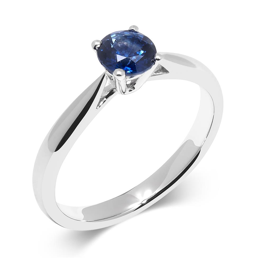 18ct White Gold Sapphire Solitaire Ring Thumbnail Image 0