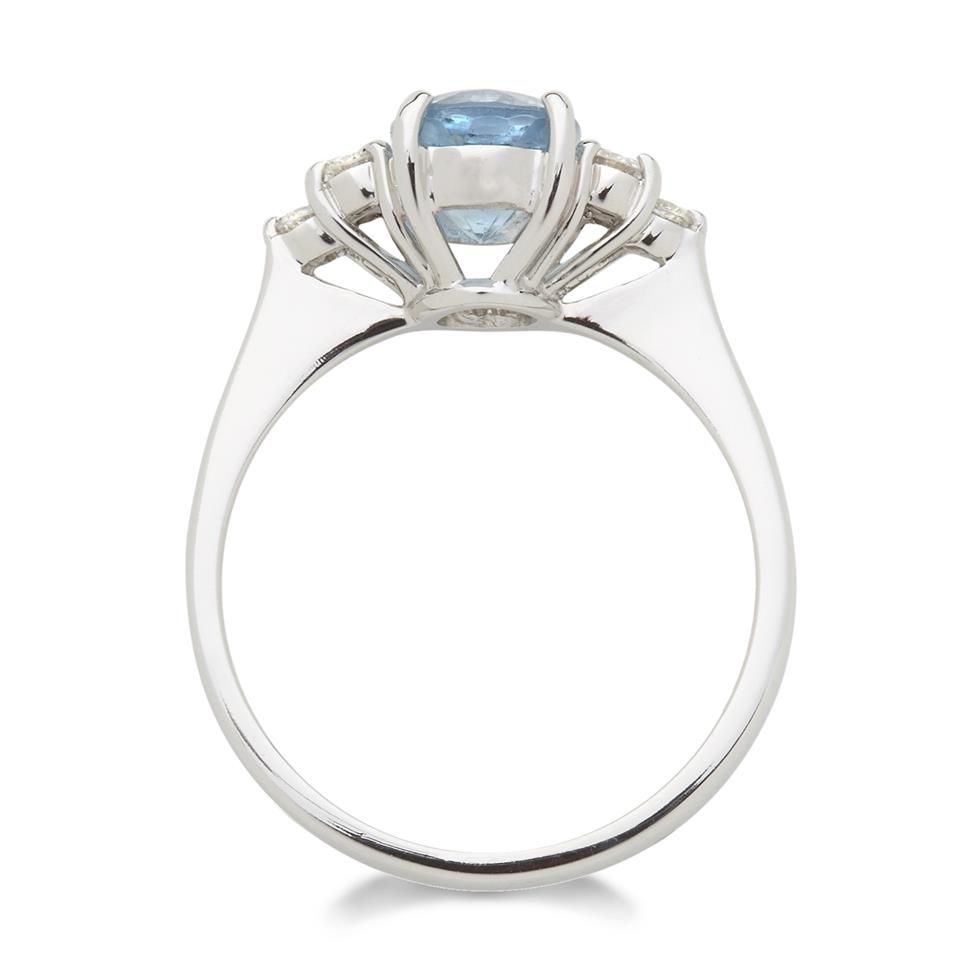 18ct White Gold Oval Aquamarine and Diamond Dress Ring Thumbnail Image 1