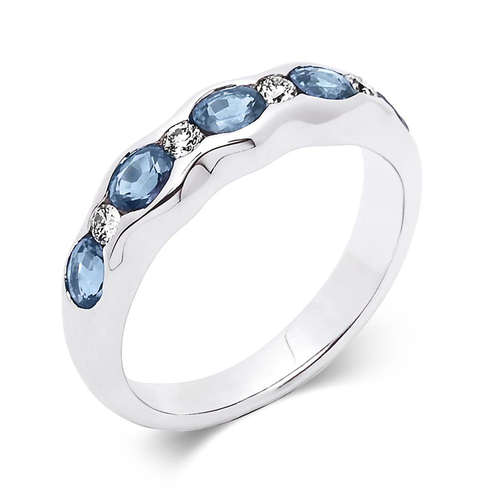 18ct White Gold Oval Sapphire and Diamond Eternity Ring Thumbnail Image 0