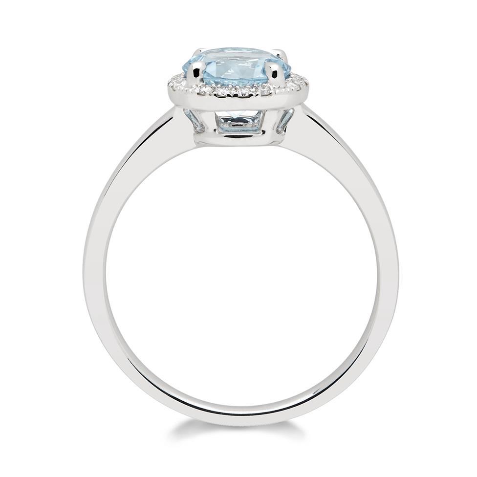 Camellia 18ct White Gold Blue Topaz and Diamond Halo Dress Ring  Thumbnail Image 2