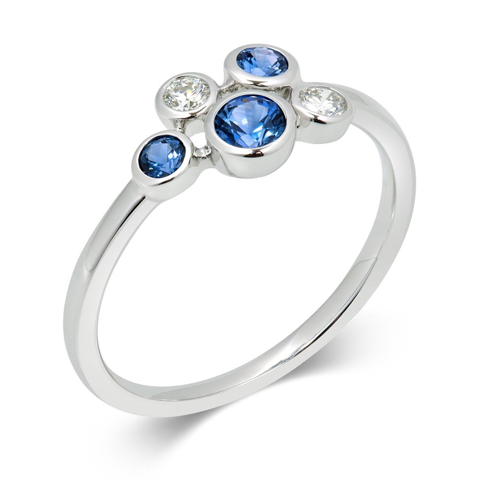 Alchemy 18ct White Gold Sapphire and 0.10ct Diamond Ring Image 1