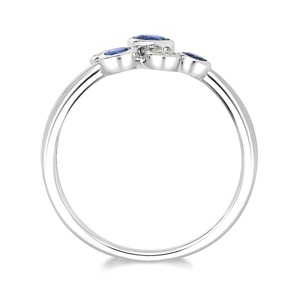 Alchemy 18ct White Gold Sapphire and 0.10ct Diamond Ring Thumbnail Image 1
