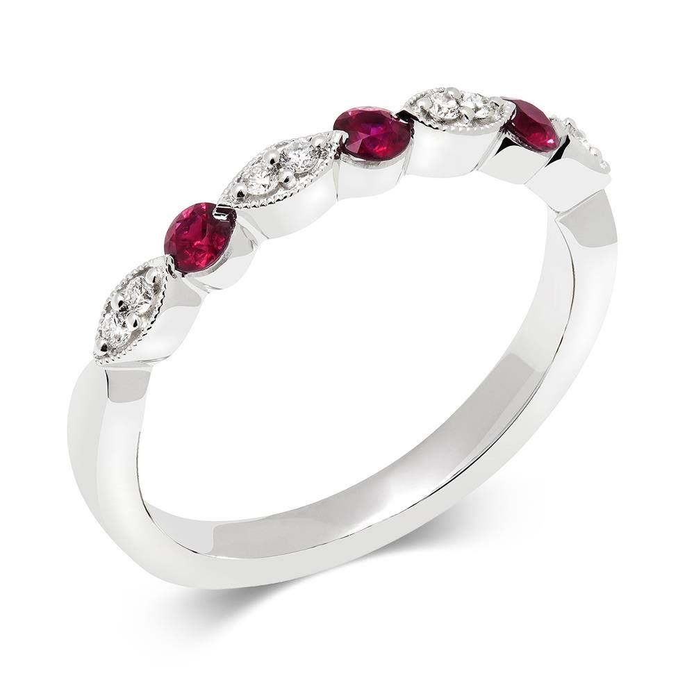 18ct White Gold Milgrain Detail Ruby and Diamond Half Eternity Ring Thumbnail Image 0