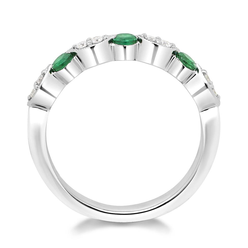 18ct White Gold Milgrain Detail Ruby and Emerald Half Eternity Ring Thumbnail Image 1