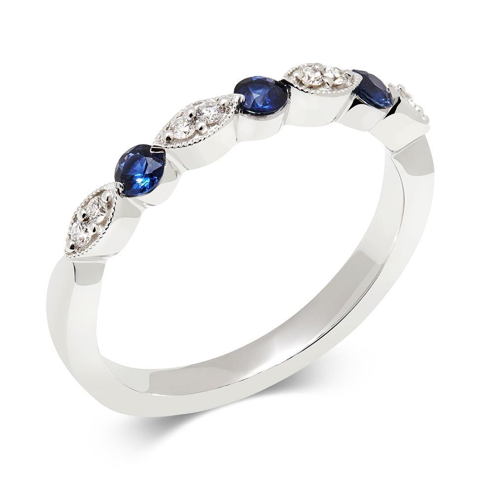 18ct White Gold Milgrain Detail Sapphire and Diamond Half Eternity Ring Thumbnail Image 0