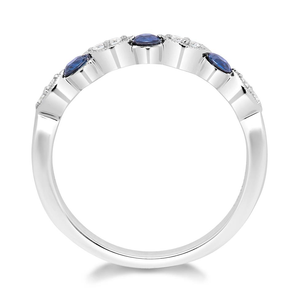 18ct White Gold Dainty Sapphire and Diamond Ring Thumbnail Image 2