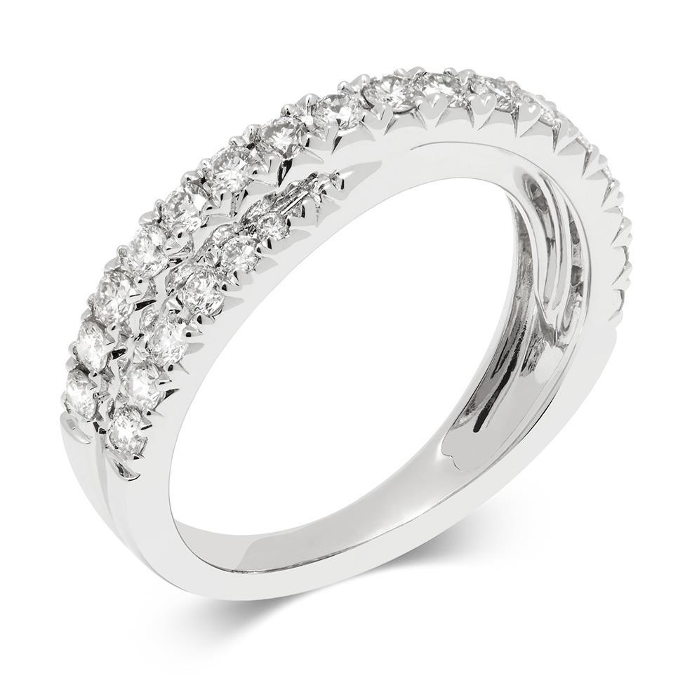 18ct White Gold Crossover Design Diamond Dress Ring 0.50ct Thumbnail Image 0