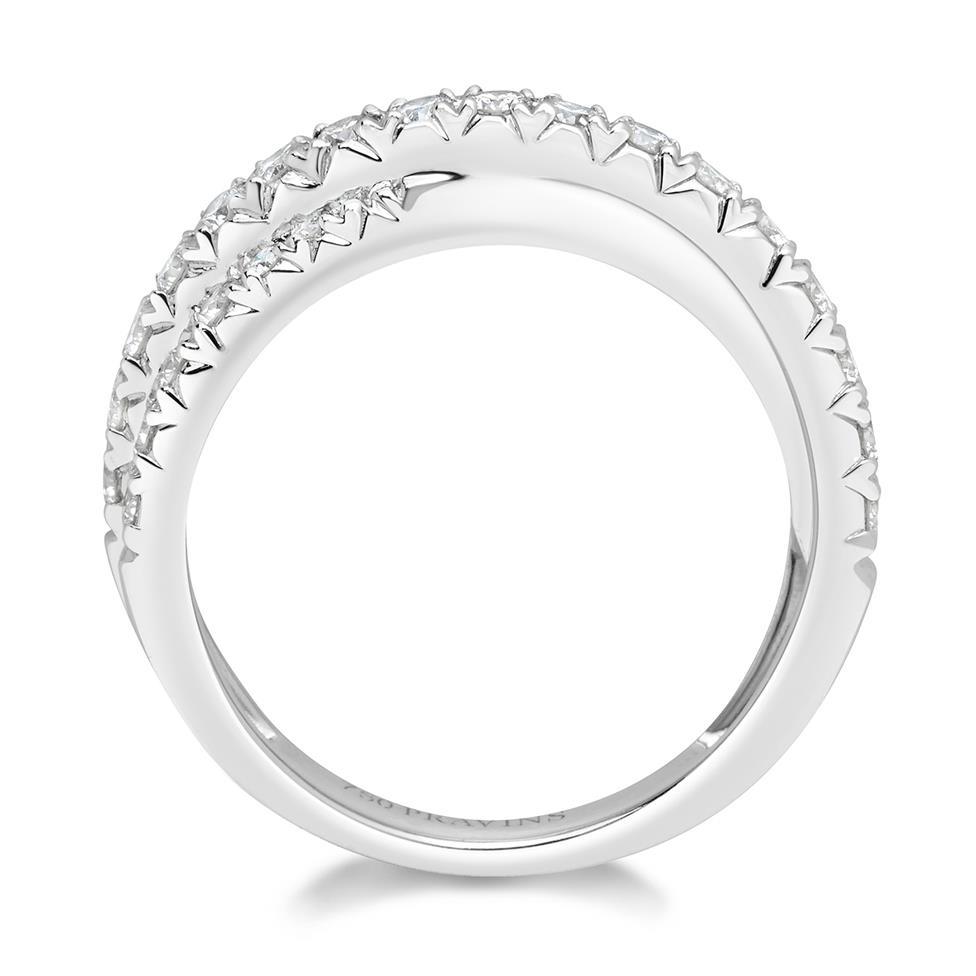 18ct White Gold Crossover Design Diamond Dress Ring 0.50ct Thumbnail Image 2