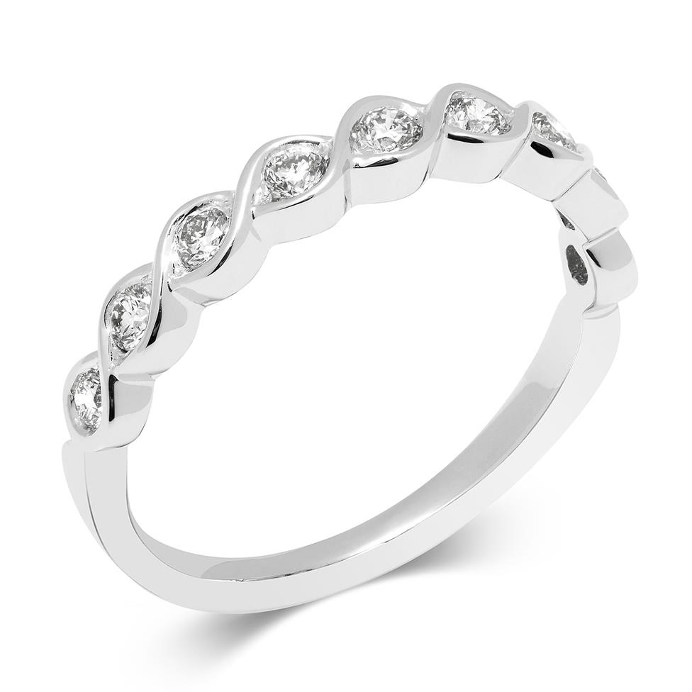 18ct White Gold Wave Design Eternity Ring Thumbnail Image 0