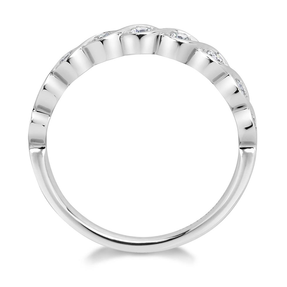 18ct White Gold Wave Design Eternity Ring Thumbnail Image 1