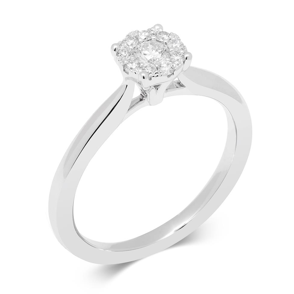 18ct White Gold Illusion 0.15ct Diamond Cluster Ring Thumbnail Image 0