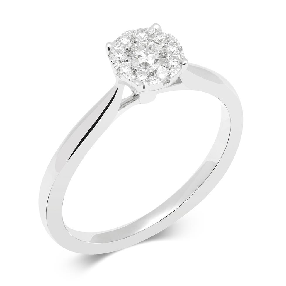 18ct White Gold Illusion Detail Diamond Cluster Engagement Ring 0.25ct Thumbnail Image 0