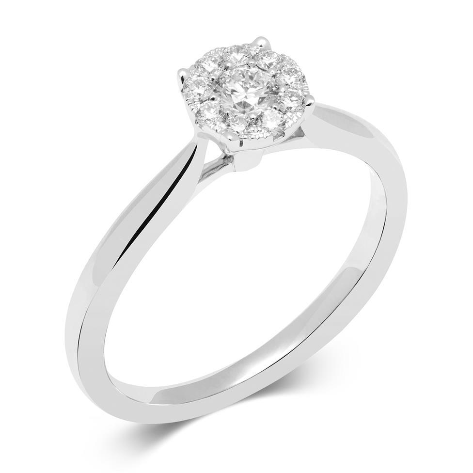 18ct White Gold Illusion Detail Diamond Cluster Engagement Ring 0.35ct Thumbnail Image 0
