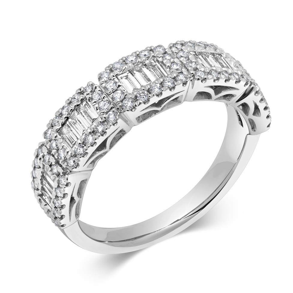 18ct White Gold Baguette Cut Diamond Ring Image 1