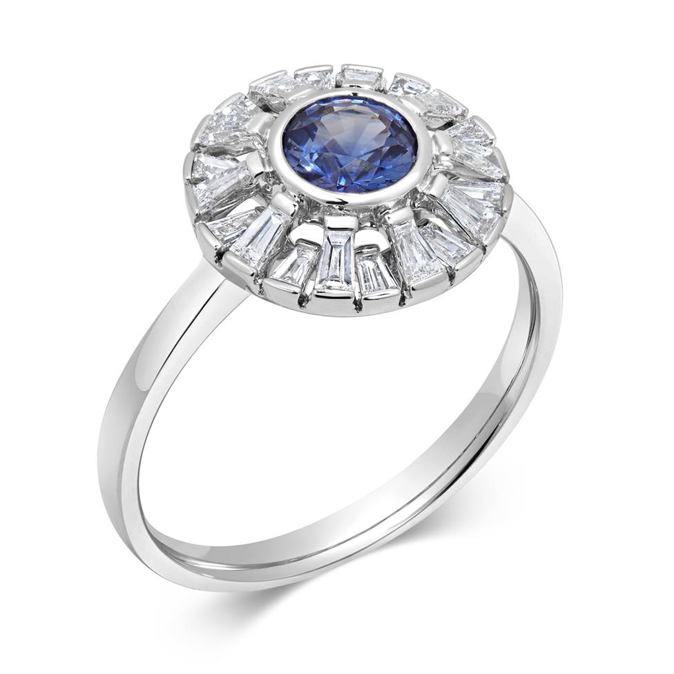 18ct White Gold Sapphire and Baguette Cut Diamond Ring Thumbnail Image 0