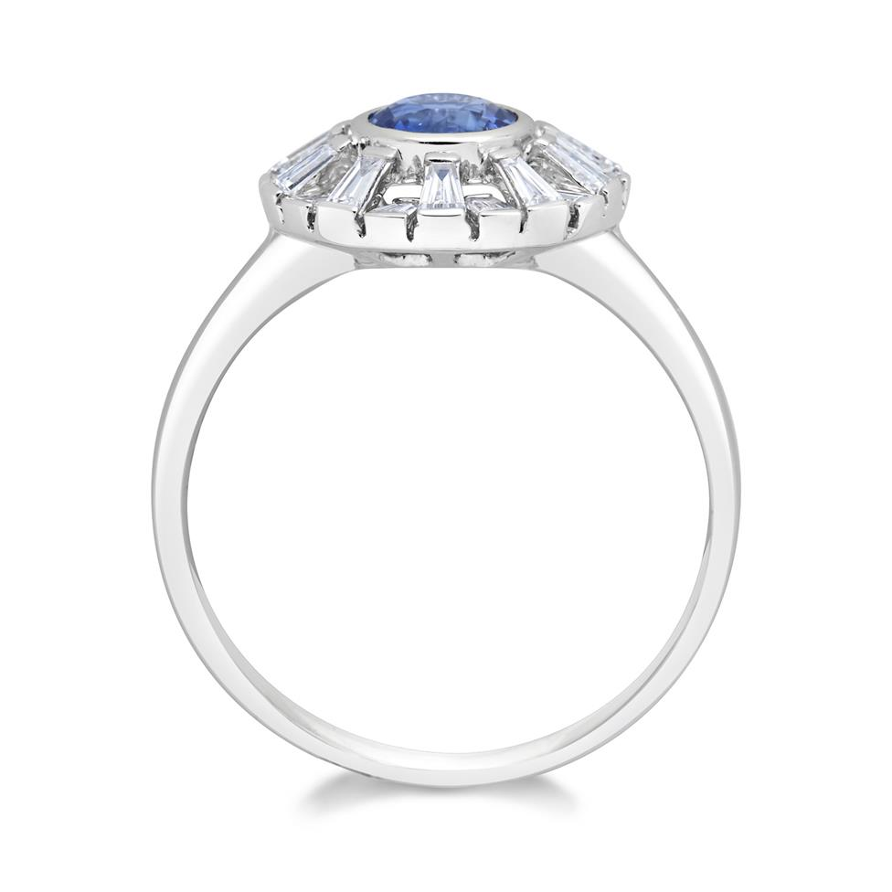 18ct White Gold Sapphire and Baguette Cut Diamond Ring Thumbnail Image 1