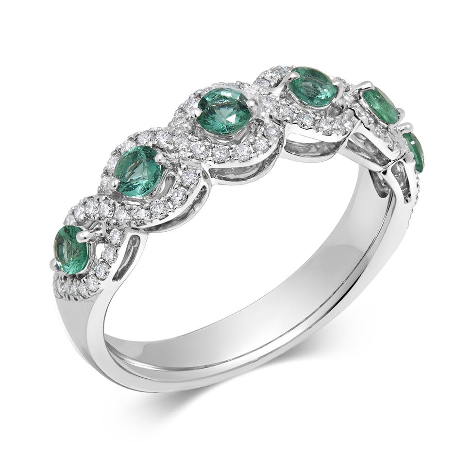 Oriana 18ct White Gold Emerald and Diamond Dress Ring Thumbnail Image 0