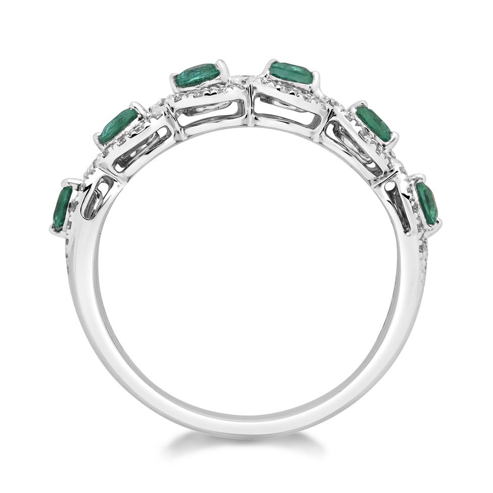 Oriana 18ct White Gold Emerald and Diamond Dress Ring Thumbnail Image 1