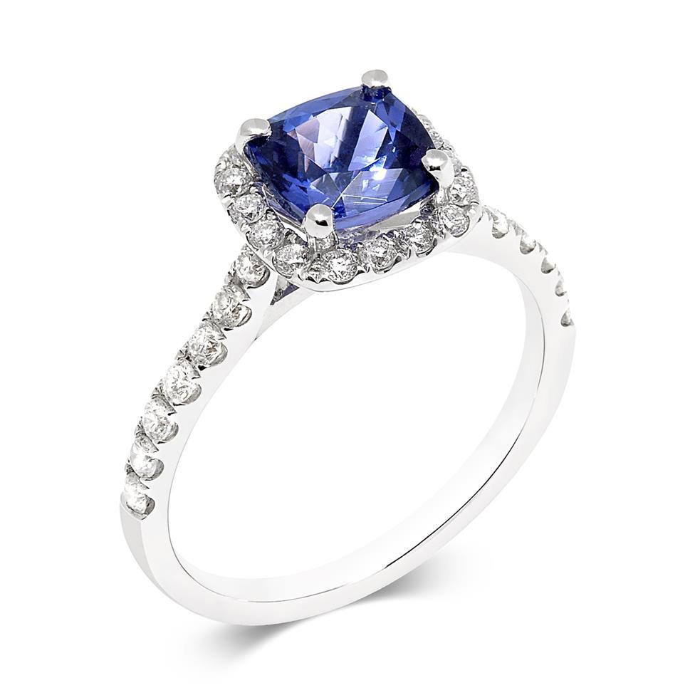 18ct White Gold Cushion Cut Tanzanite and Diamond Dress Ring Thumbnail Image 0