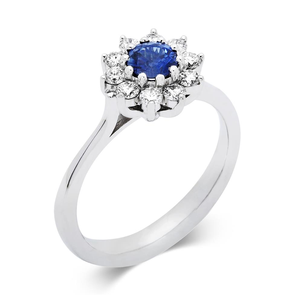 18ct White Gold Flower Design Sapphire And Diamond Ring Pravins