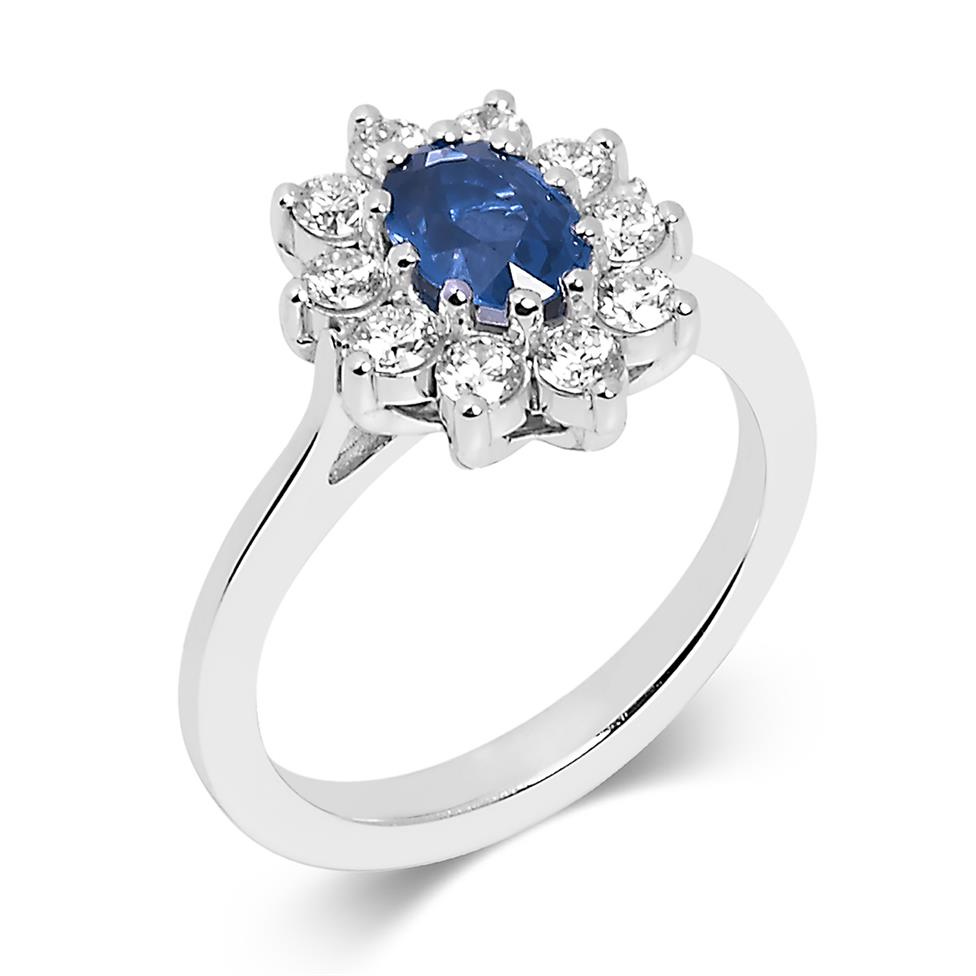 18ct White Gold Oval Sapphire and 0.80ct Diamond Cluster Ring Thumbnail Image 0