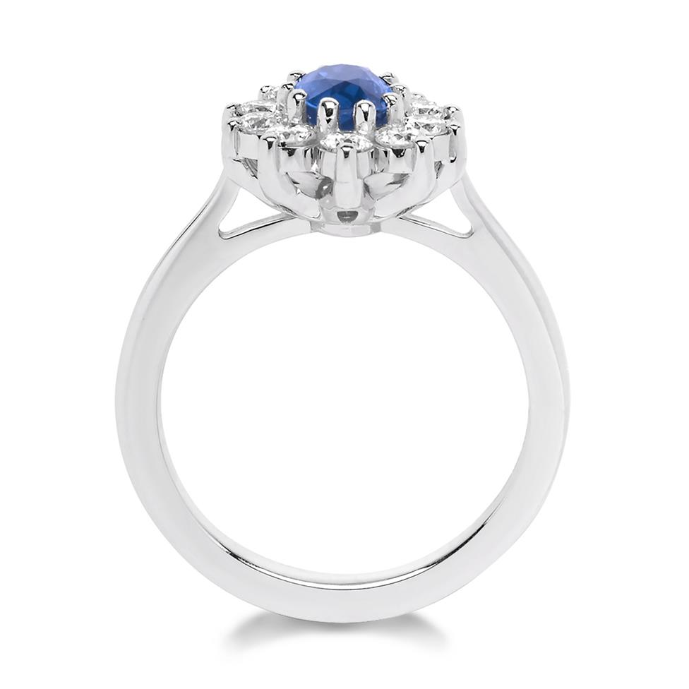 18ct White Gold Oval Sapphire and 0.80ct Diamond Cluster Ring Thumbnail Image 1