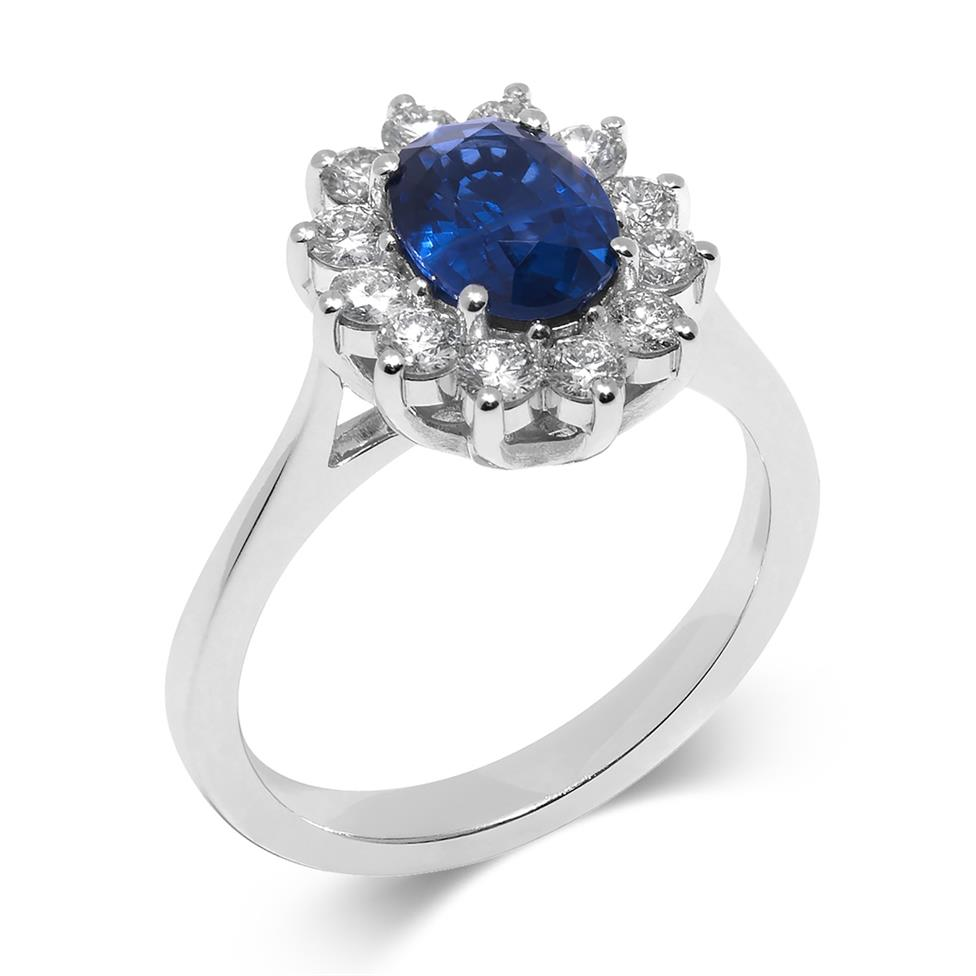18ct White Gold Oval Sapphire and Diamond Cluster Engagement Ring Thumbnail Image 0
