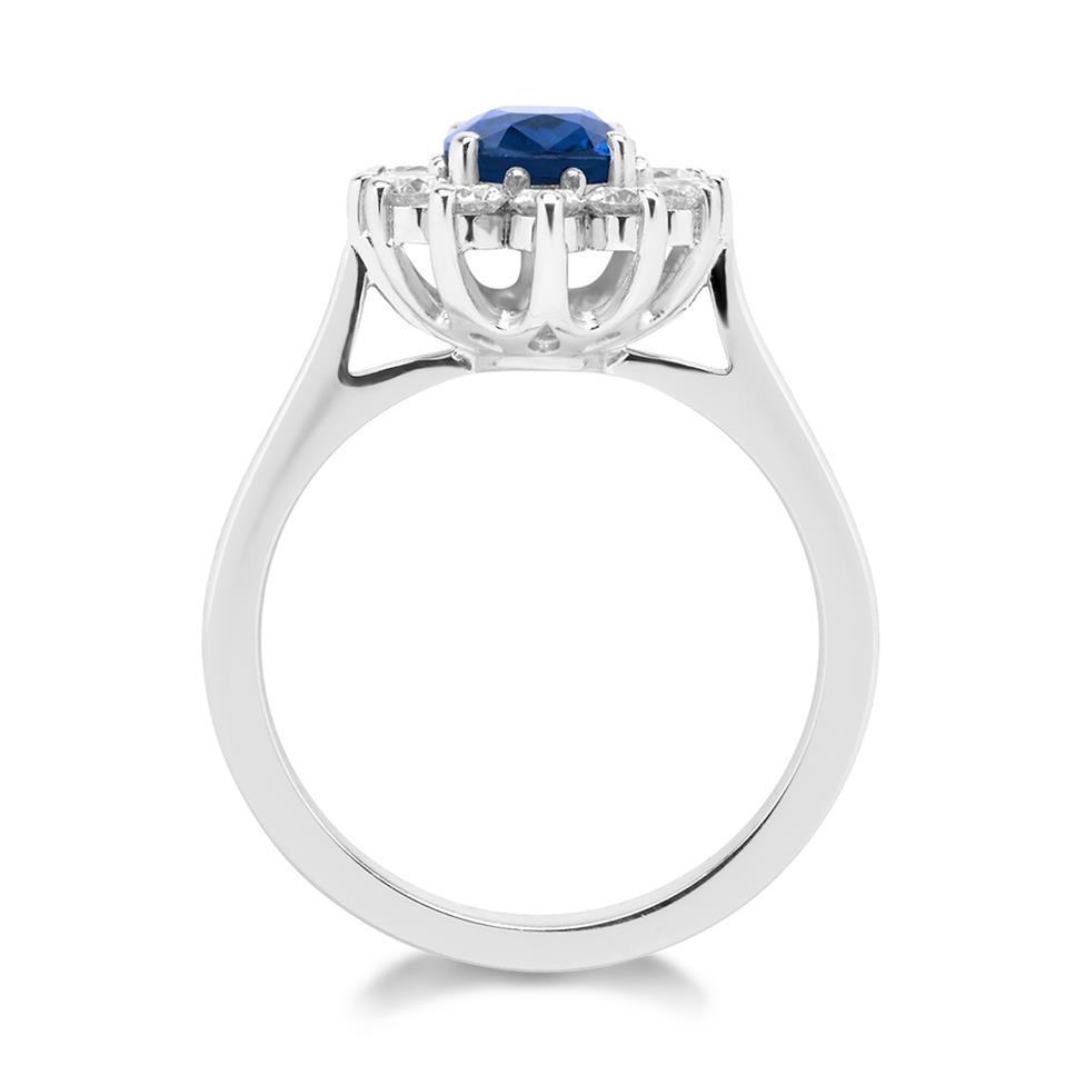 18ct White Gold Oval Sapphire and Diamond Cluster Engagement Ring Thumbnail Image 1