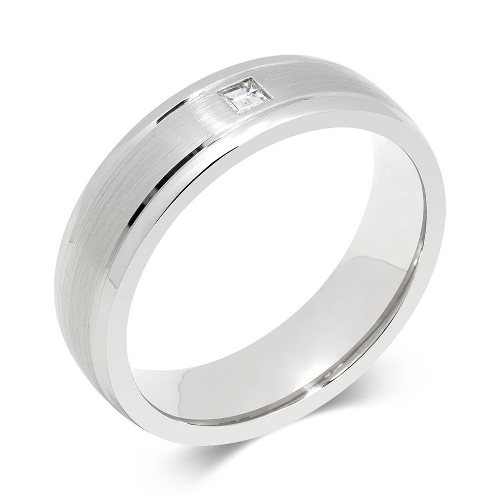 Palladium Rubover Diamond Ring Image 1