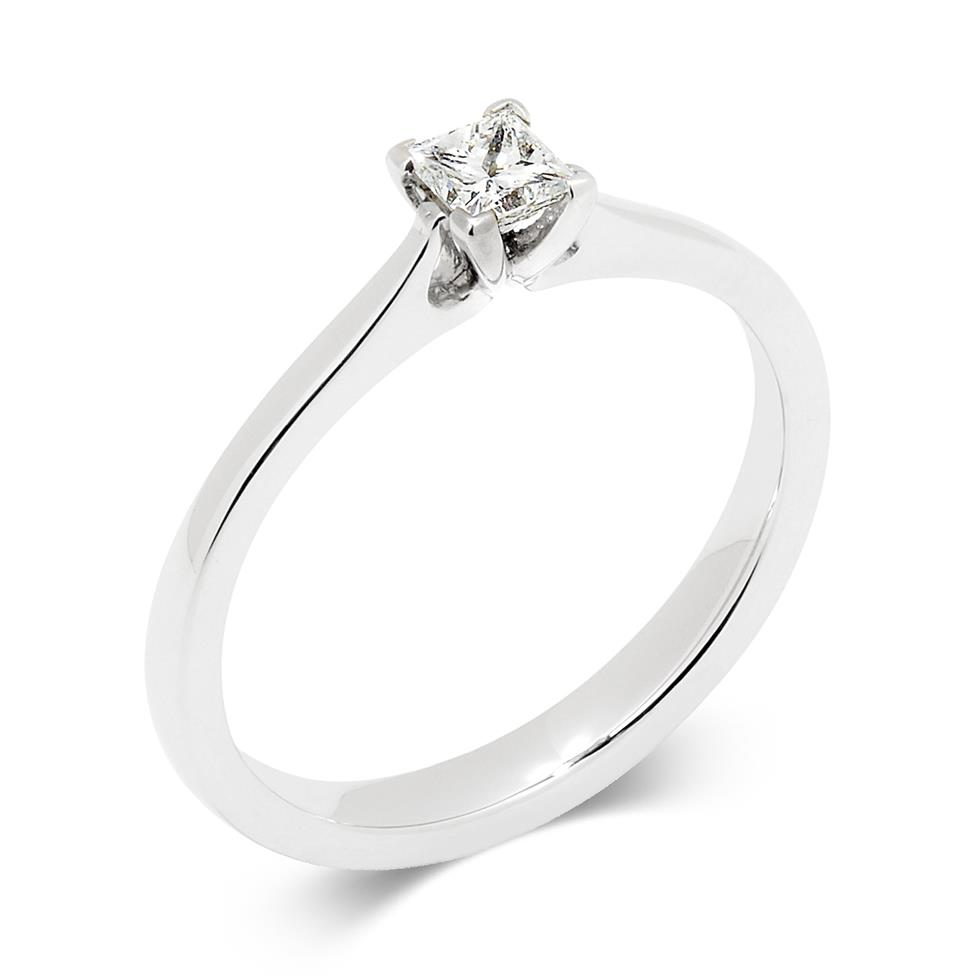 Palladium Princess Cut Diamond Solitaire Ring Thumbnail Image 0