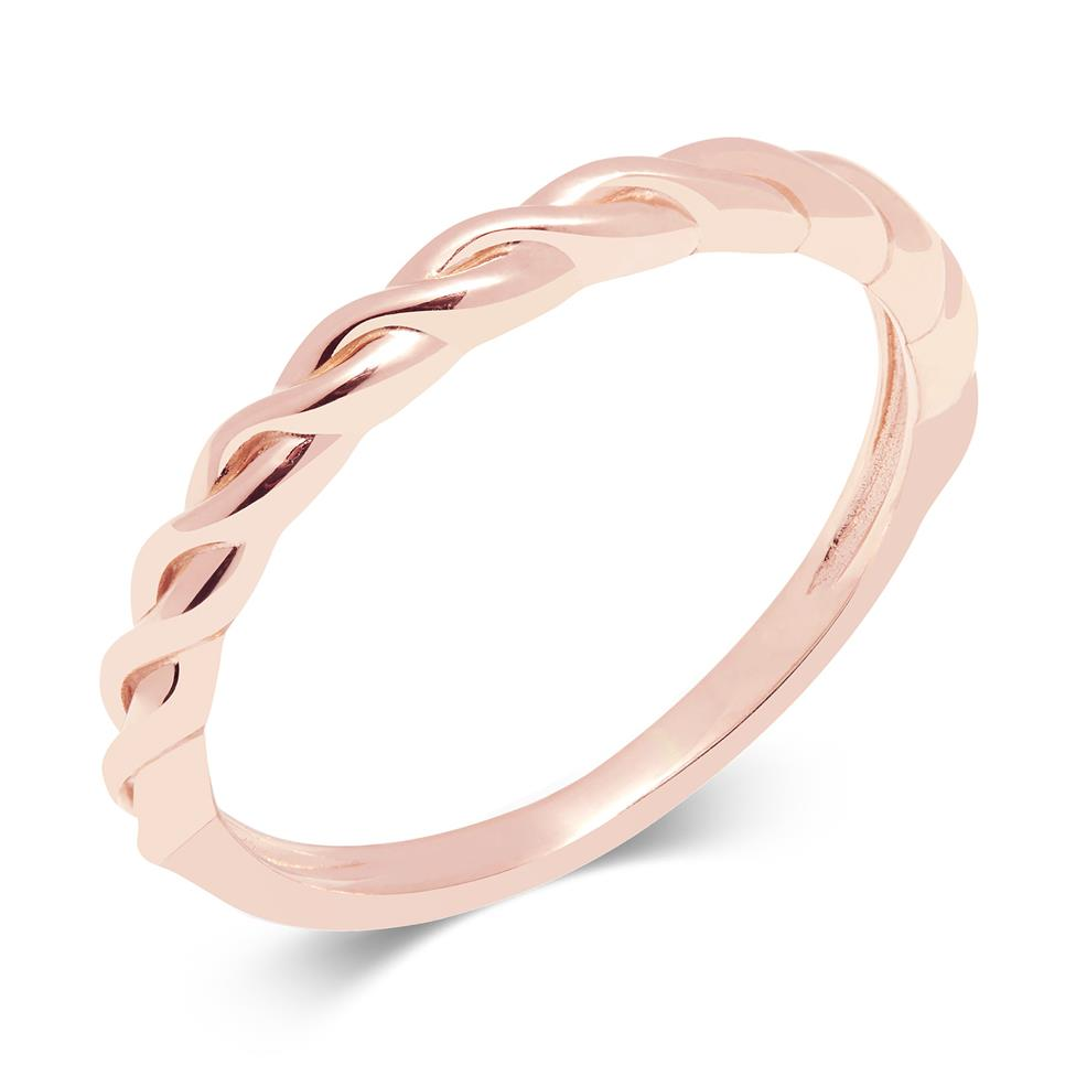 18ct Rose Gold Twist Design Stacking Dress Ring Thumbnail Image 0