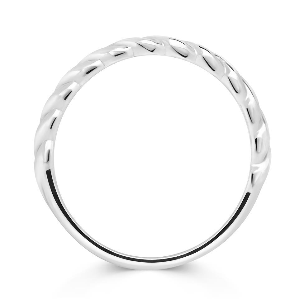 18ct White Gold Twist Design Stacking Dress Ring Thumbnail Image 1