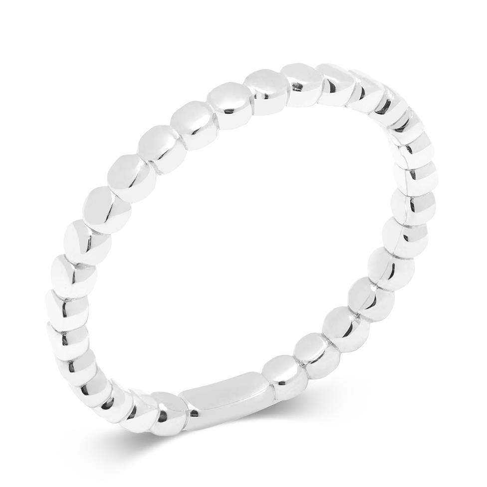 18ct White Gold Bead Design Stacking Dress Ring Thumbnail Image 0