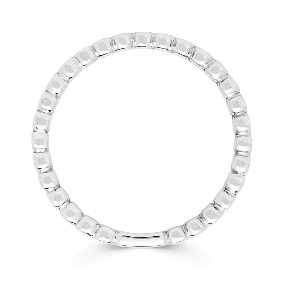 18ct White Gold Bead Design Stacking Dress Ring Thumbnail Image 1