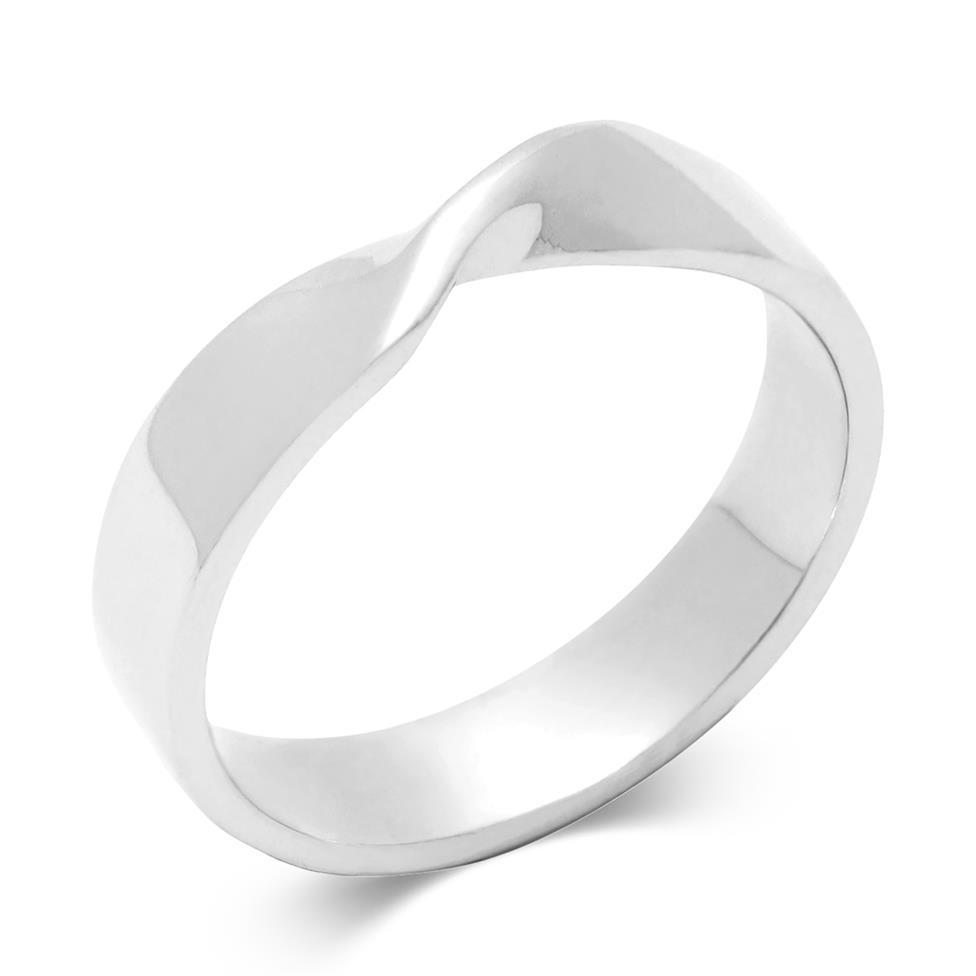Platinum Shaped Wedding Ring Thumbnail Image 0