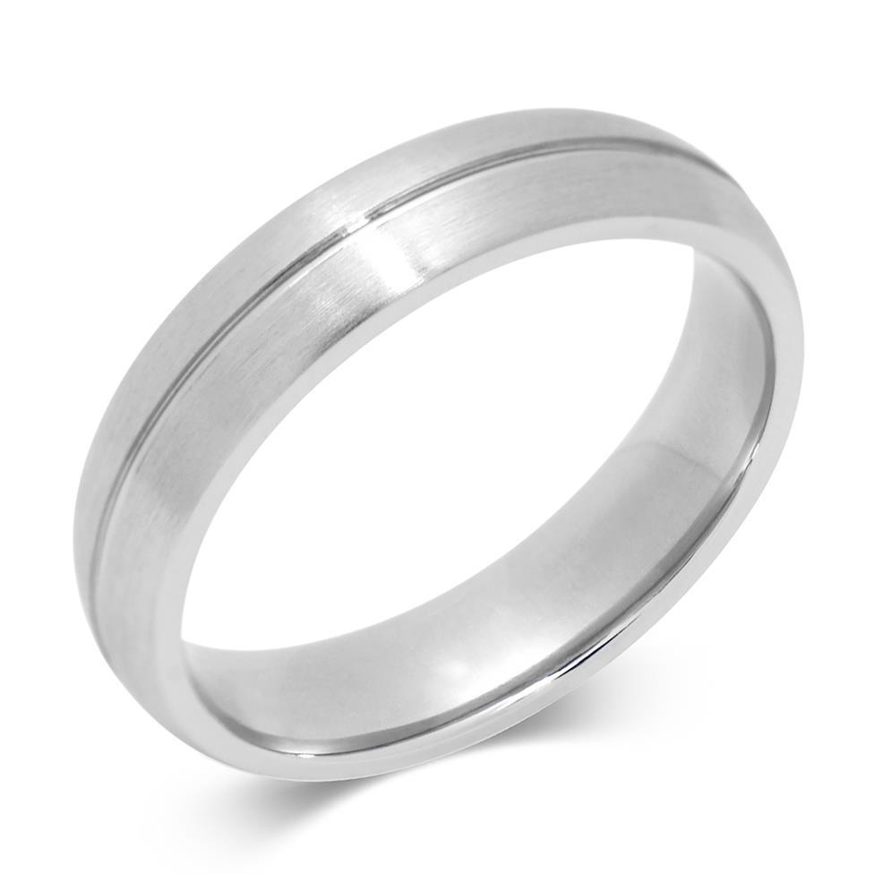 Platinum Groove Detail Matt Finish Wedding Ring Thumbnail Image 0