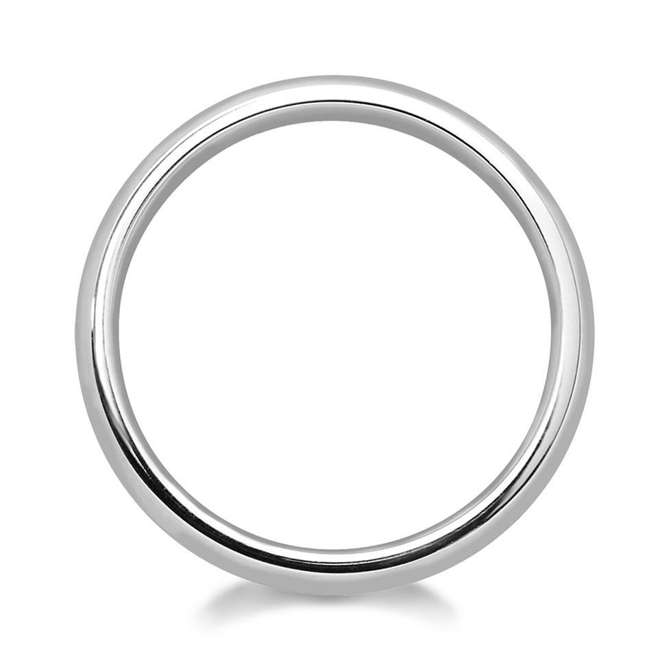 Platinum Groove Detail Matt Finish Wedding Ring Thumbnail Image 1