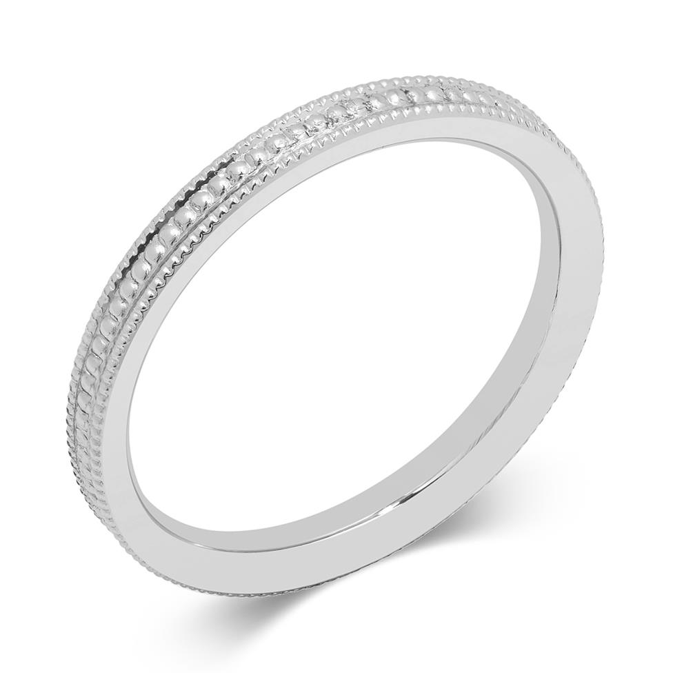 Platinum Beaded Pattern Ring Thumbnail Image 0