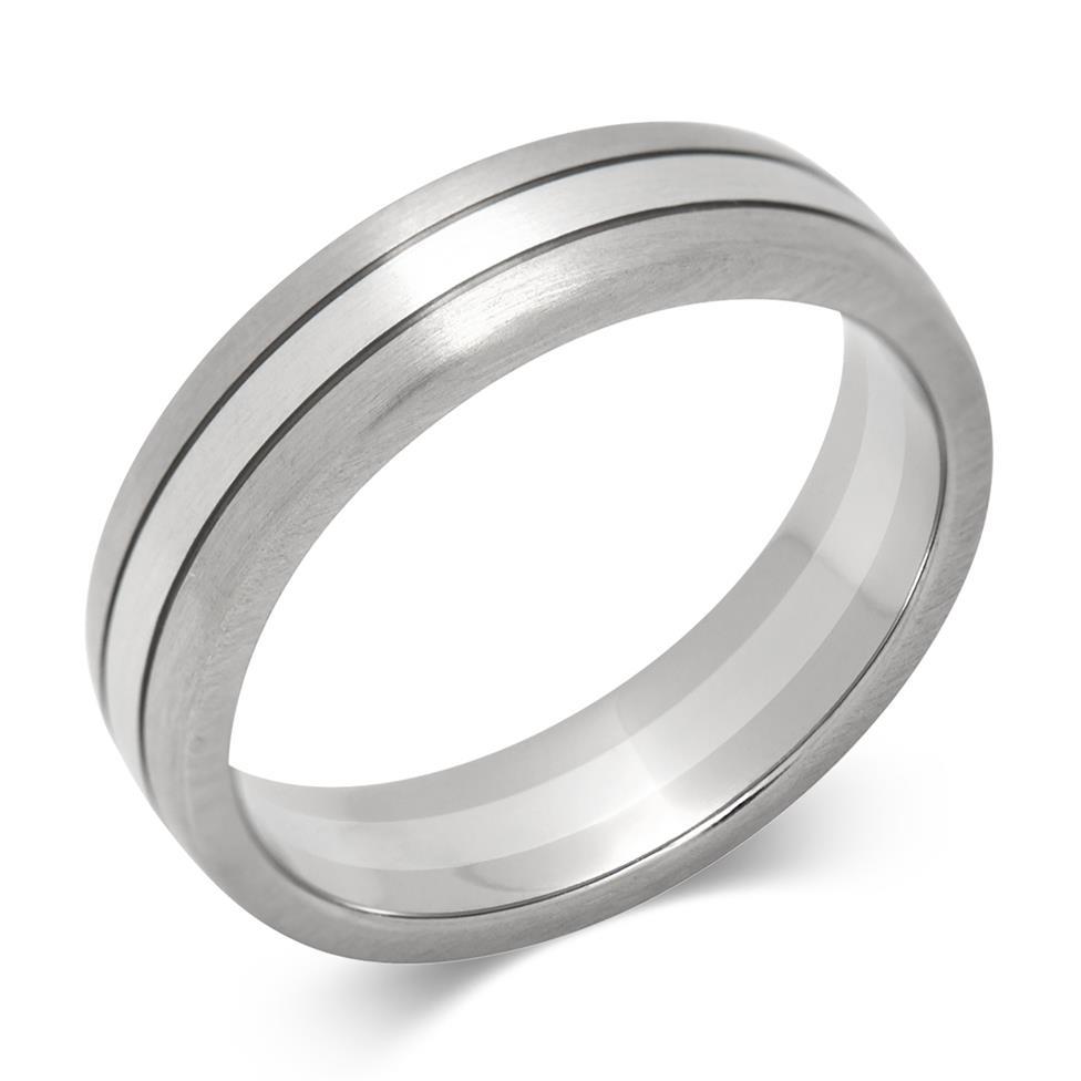 Platinum and 18ct White Gold Matt Finish Wedding Ring Thumbnail Image 0