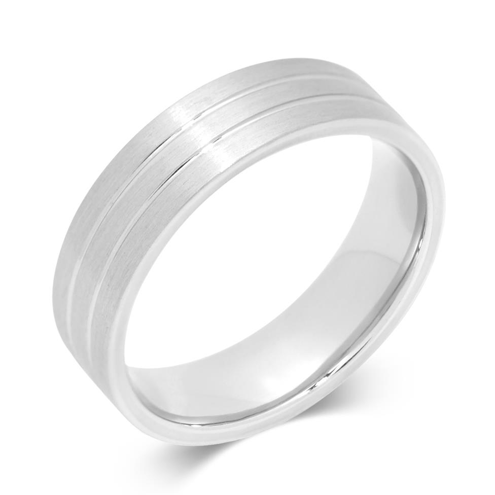 Palladium Central Double Groove Flat Court Ring Thumbnail Image 0