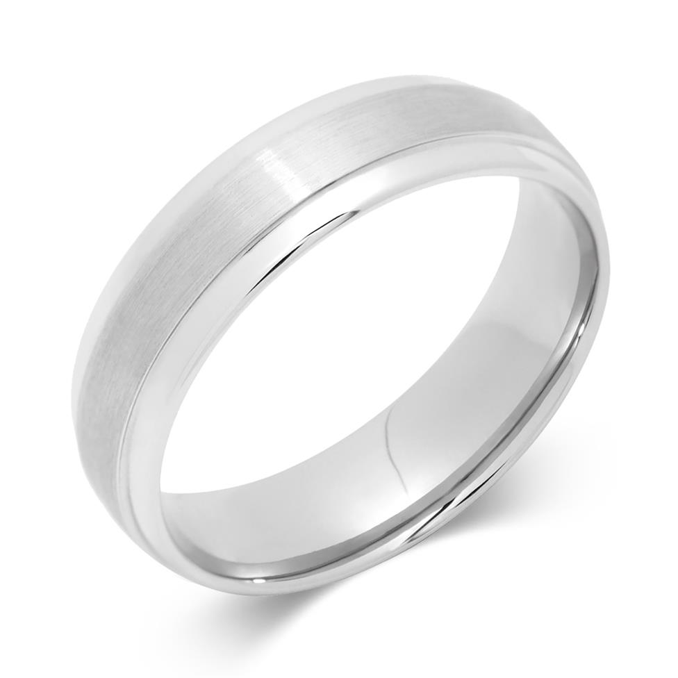 Palladium Ridge Detail Wedding Ring Thumbnail Image 0