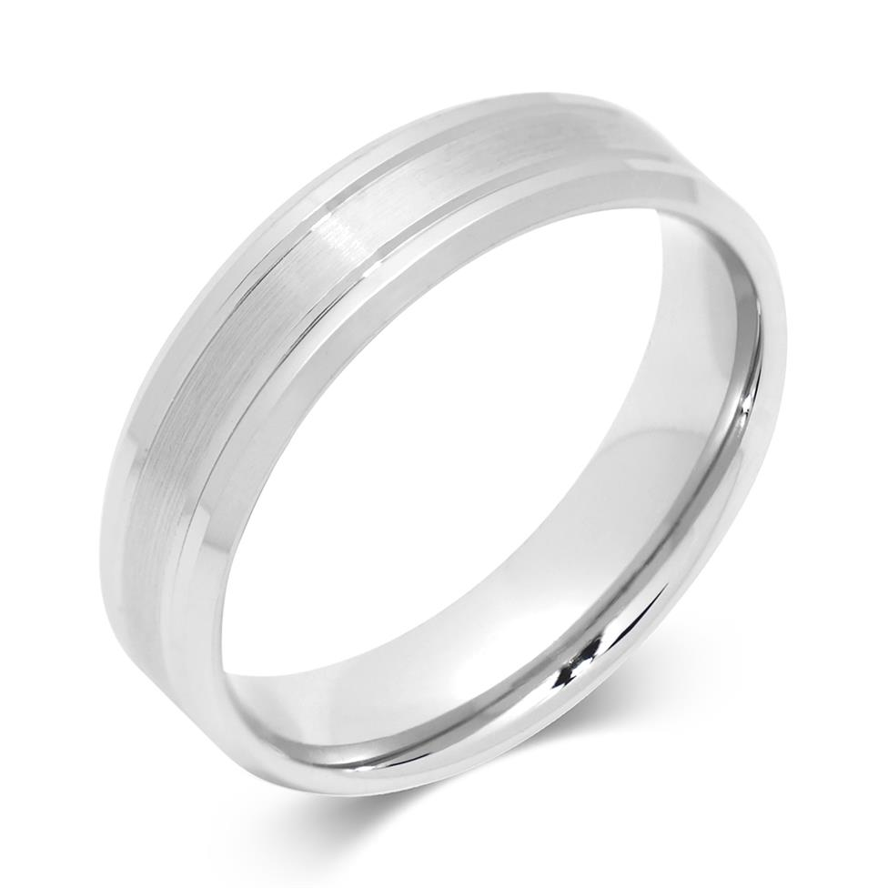 Palladium Modern Groove and Bevelle Wedding Ring Image 1
