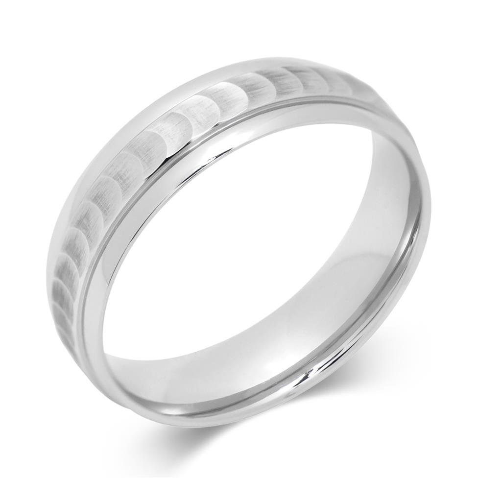 Palladium Scooped Design Wedding Ring Image 1